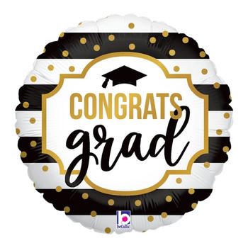 """9""""B Congrats Grad Black and White Stripe (10 count)"""
