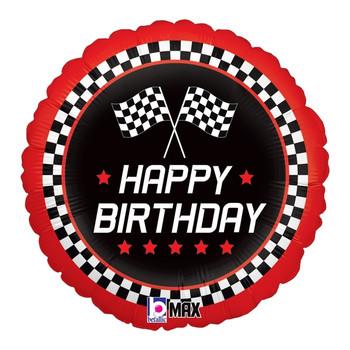 "18""B Happy Birthday Checkered Flag Pkg (5 count)"