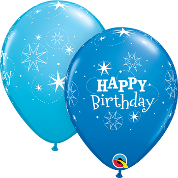"""11""""Q Happy Birthday Dark Blue and Robin's Egg Assorted (50 count)"""