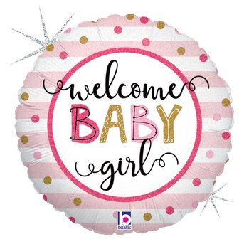 "18""B Welcome Baby Girl Holographic Pkg (5 count)"