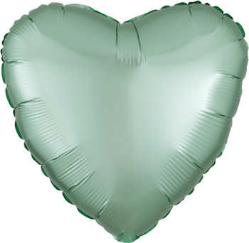 """18""""A Heart Satin Luxe Mint Green (10 count)"""