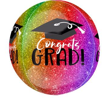 """16""""A Congrats Grad Ombre Sparkle Orbz Pkg (5 count)"""