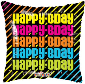 "18""K Happy Birthday Many Neon Square  (10 count)"