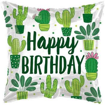 """18""""K Happy Birthday Cactus Square  (10 count)"""