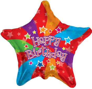 "18""K Happy Birthday Colors Star (10 count)"