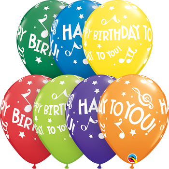 """11""""Q Assorted Happy Birthday Carnival Music Notes (50 count)"""