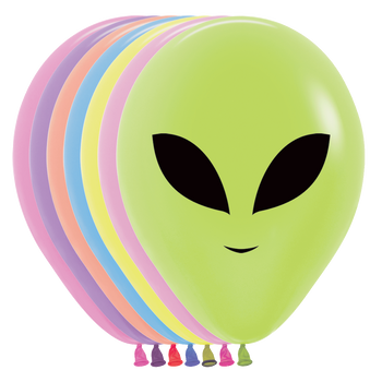 "11""B Assorted Neon Alien Face Print (50 count)"