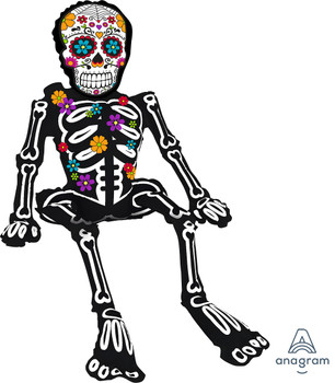 """26""""A Day Of The Dead Sitting Skeleton Halloween Pkg (5 count)"""