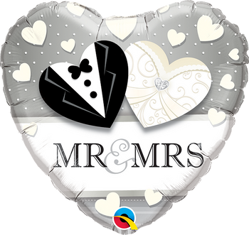 """18"""" Q Mr and Mrs Wedding Heart shape (10 pieces)"""