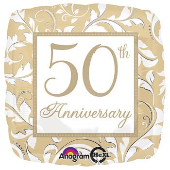 """18""""A 50th Anniversary Square White Pkg (5 count)"""