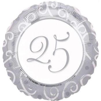 "18""A 25th Anniversary Round White Pkg (5 count)"