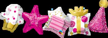 """41""""Q Happy Birthday Garland Pink Pkg (1 count)"""