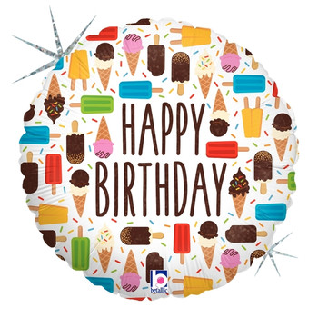"18""A Happy Birthday Ice Cream Bars Holographic Pkg (5 count)"
