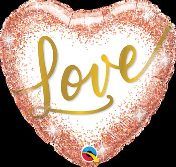 "18""Q Love Rose Gold Glitter Hearts Pkg (5 count)"
