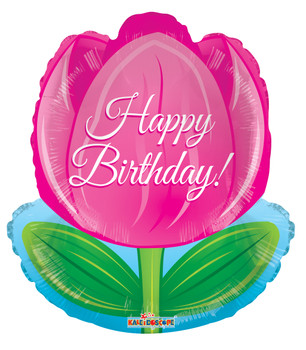 """18""""K Happy Birthday Tulip (10 count)"""