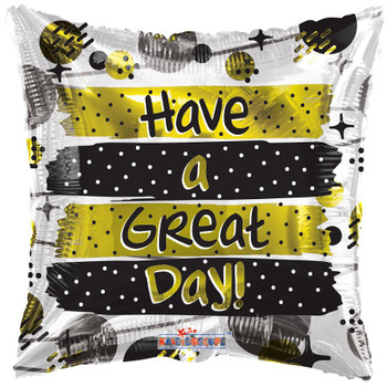 """9""""K Have A Great Day Yellow and Black (10 count)"""