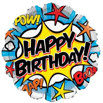"""18""""K Happy Birthday Super Hero Comic (10 count)"""
