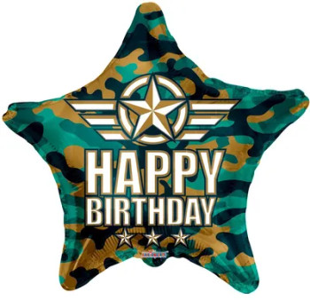 "18""K Happy Birthday Camouflage (10 count)"