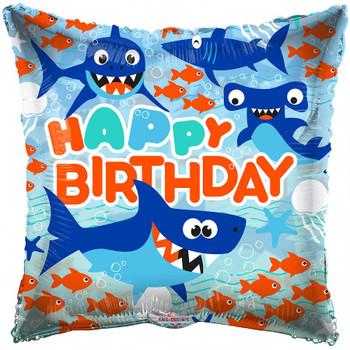 "18""K Happy Birthday Sharks (10 count)"