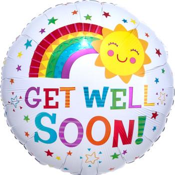 """18""""A Get Well Soon Rainbow Happy Sun Pkg (5 count)"""