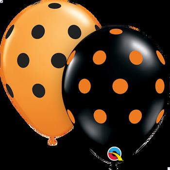 "11""Q Dots Asst. Black and Orange Print (50 count)"