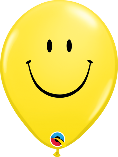 """5""""Q Smile Face, Yellow Print (100 count)"""