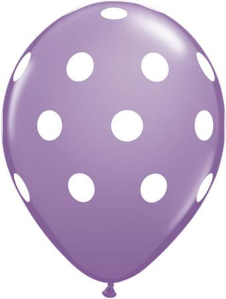 """11""""Q Spring Lilac, Dots Big with White Print (100 count)"""