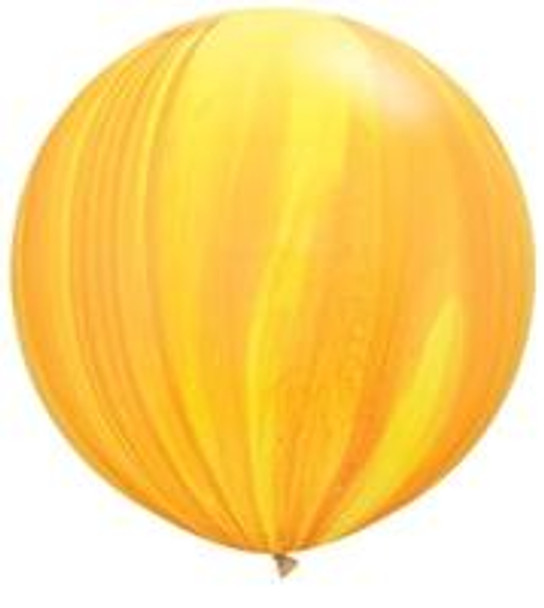 "30""Q Agate, Yellow/ Orange Rainbow (2 count)"