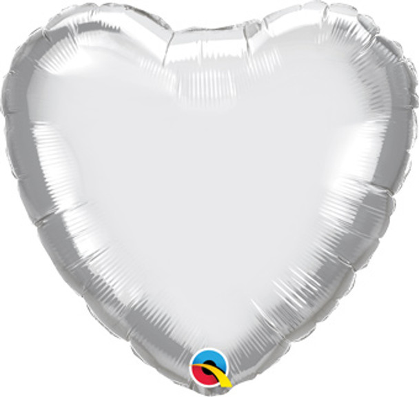 "18""Q Heart Chrome Silver (10 count)"