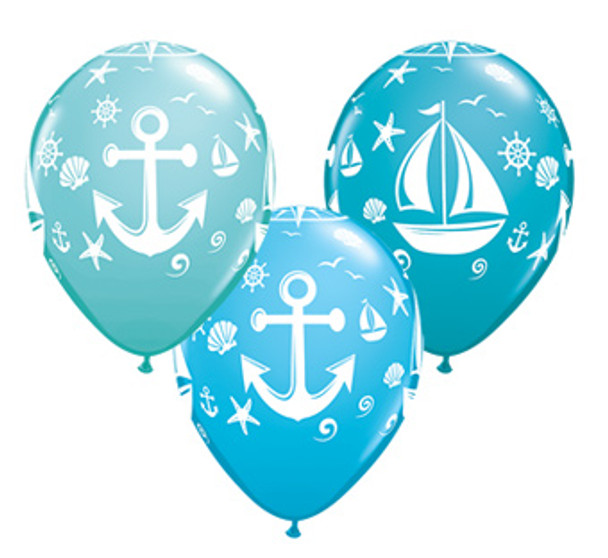 """11""""Q Anchors and Nautical Print (50 count)"""