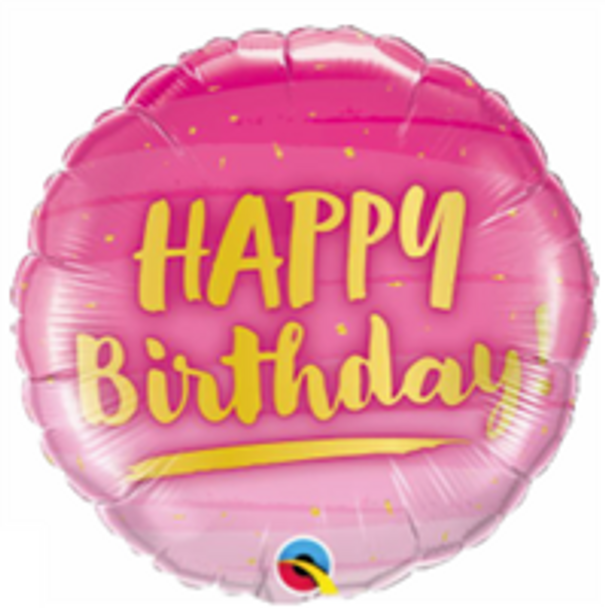 "18""Q Happy Birthday, Gold and Pink (5 count)"