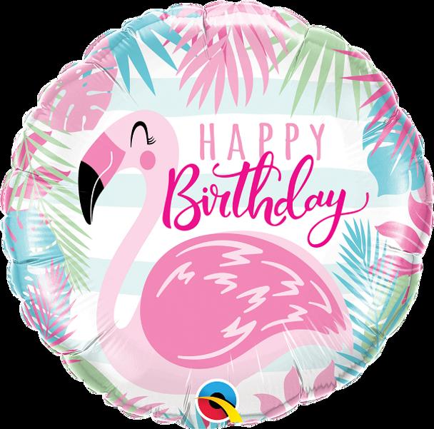 """18""""Q Happy Birthday, Flamingo (5 count)"""