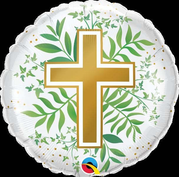 "18""Q Religious Cross,Golden & greenery(5 count)"