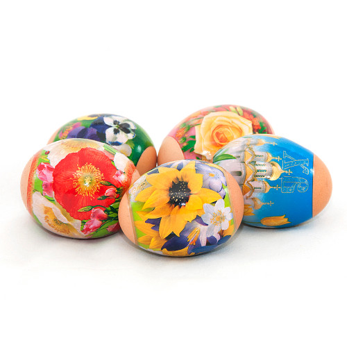Bright Flowers, set of 5 Easter Egg Shrinking Wraps