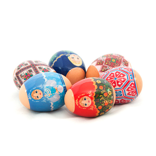 Matryoshka dolls and ornaments, set of 6 Easter Egg Shrinking Wraps