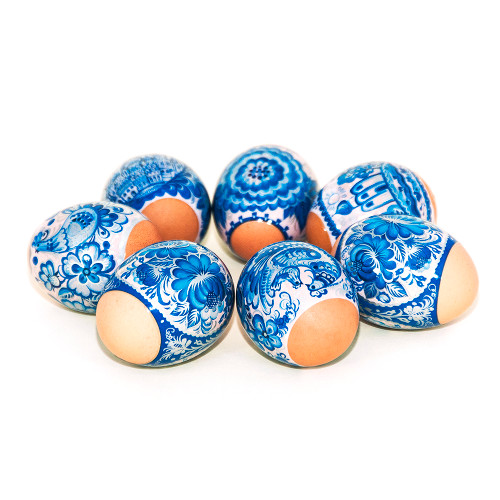 Lovely Gzhel, set of 7 Easter Egg Shrinking Wraps