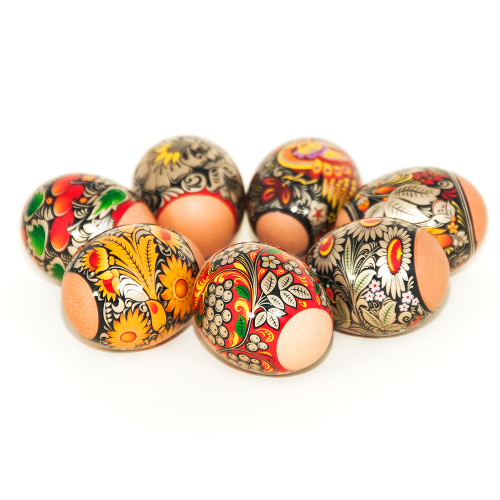 Gold Khokhloma, set of 7 Easter Egg Shrinking Wraps