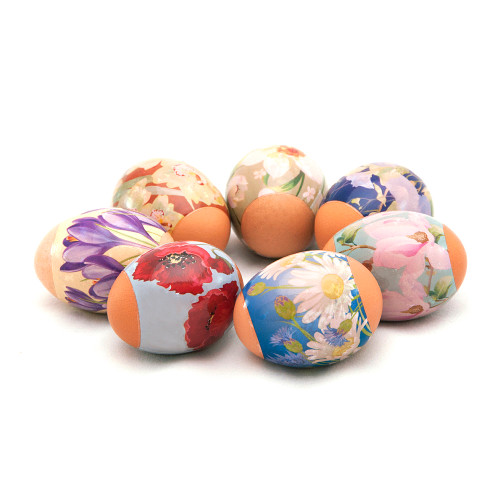 Spring Flowers, set of 7 Easter Egg Shrinking Wraps