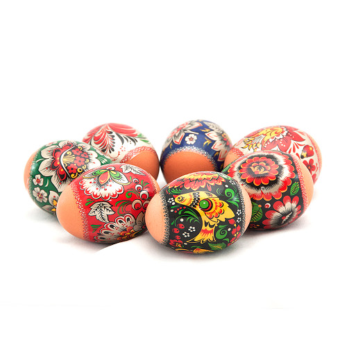 Khokhloma Golden Flowers, set of 7 Easter Egg Shrinking Wraps
