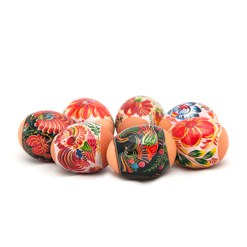Red Roosters and Flowers, set of 7 Easter Egg Shrinking Wraps