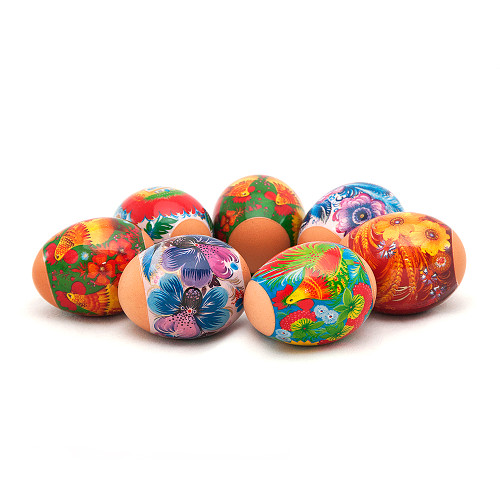 Vivid Roosters, set of 7 Easter Egg Shrinking Wraps