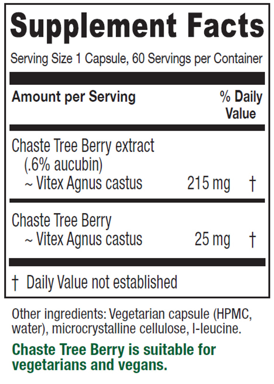 Chaste Tree Berry 60 VCaps (240 mg)