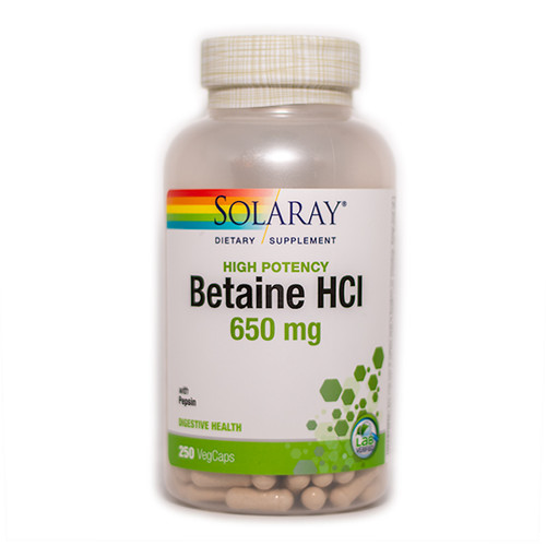 Betaine HCL with Pepsin 250 Caps (650 mg)