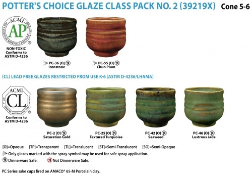 This class pack contains one pint each of the following Potter's Choice glazes: PC-36 Ironstone, PC-55 Chun Plum, PC-2 Saturation Gold, PC-25 Textured Turquoise, PC-42 Seaweed, and PC-46 Lustrous Jade.