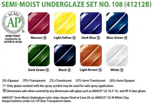 Watercolor Underglazes Set 108