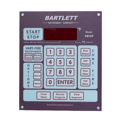 "The Bartlett V6-CF controller offers precise control and many features not available with other controllers. It comes with preset firing profiles, allowing you to fire by simply entering a cone number, as well as the option of user-defined programs. It will hold up to 6 user-defined programs with up to 8 segments in each program. Or as an option you can combine 2 programs to make one complicated program with up to 16 segments in it. The Bartlett controller has one thermocouple for each circuit in the kiln so it is excellent at ensuring even temperature from top to bottom. We still recommend the use of witness cones with all controllers. Those kiln model numbers with a bartlett controller installed are prefixed with a ""BX"". For example BX 1822D."