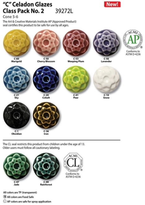 This class pack includes 12 pints of Celadon cone 5/6 glazes; C-10 Snow, C-1 Obsidian, C-36 Iron, C-41 Pear, C-20 Cobalt, C-21 Sky, C-56 Lavender, C-53 Weeping Plum, C-60 Marigold, and C-50 Cherry Blossom.  All glaze are food safe and all AP, except C-47 Storm and C-49 Rainforest.