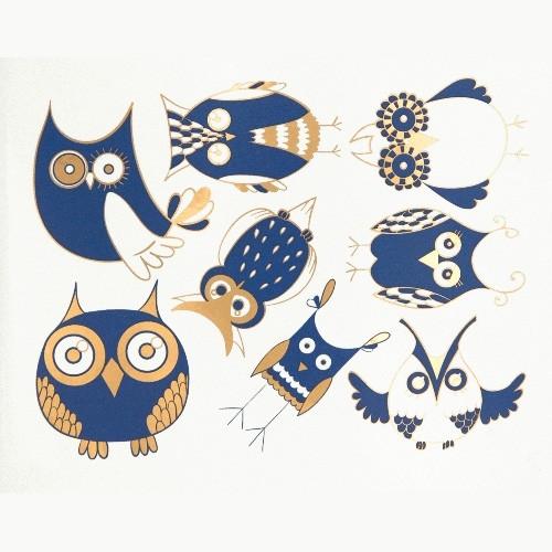 Cute Owls - Gold & Delft Blue
