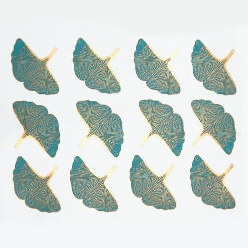 Gingko Leaf - Gold & Turquoise Blue