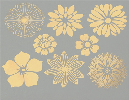 Large Flowers (8) - Gold